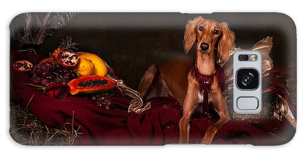 Young Saluki Dog With Fruits Galaxy Case
