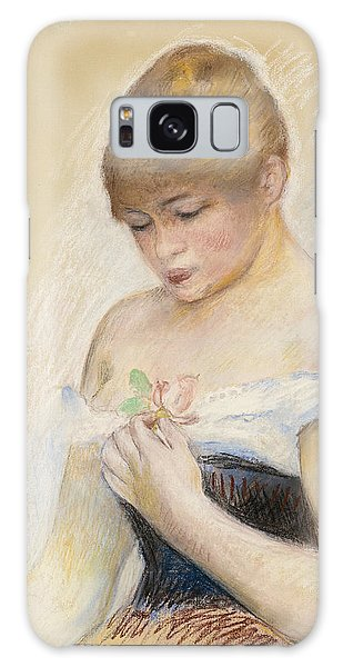Impressionistic Galaxy Case - Young Woman Holding A Flower. Portrait Of Jeanne Samary by Pierre-Auguste Renoir