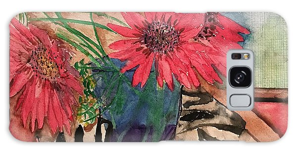 Zebra And Red Sunflowers  Galaxy Case