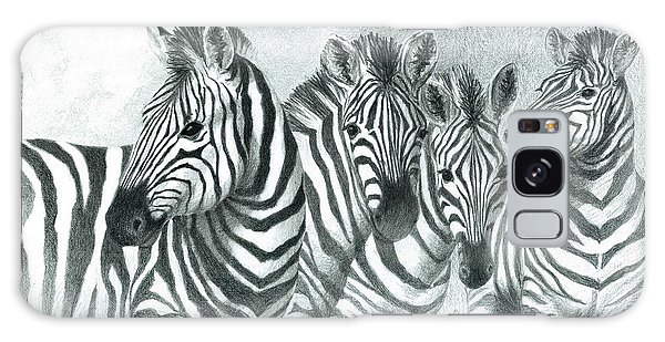 Galaxy Case featuring the drawing Zebra Quartet by Phyllis Howard