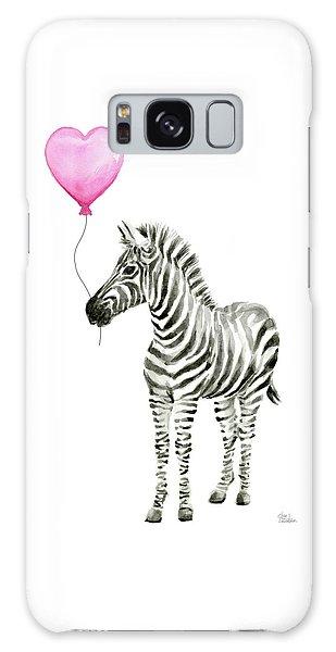 Celebration Galaxy Case - Zebra Watercolor Whimsical Animal With Balloon by Olga Shvartsur