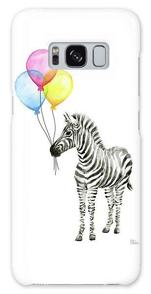 Celebration Galaxy Case - Zebra Watercolor With Balloons by Olga Shvartsur