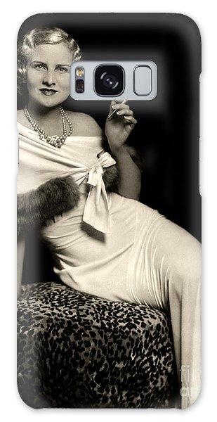Ziegfeld Model Reclining In Evening Dress  Holding Cigarette By Alfred Cheney Johnston Galaxy Case