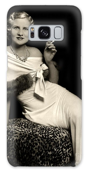 Ziegfeld Model Reclining In Evening Dress  Holding Cigarette By Alfred Cheney Johnston Galaxy Case