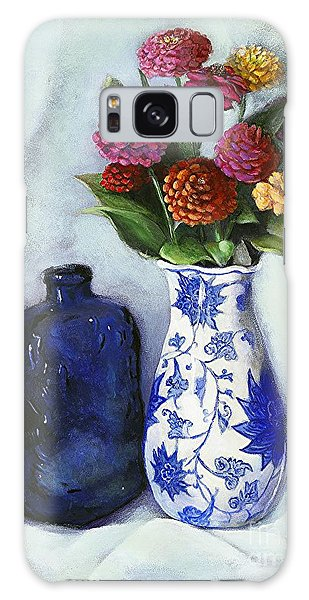 Zinnias With Blue Bottle Galaxy Case by Marlene Book