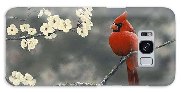 Cardinal And Blossoms Galaxy Case