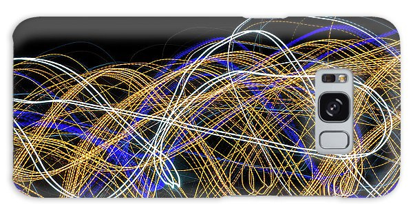 Colorful Light Painting With Circular Shapes And Abstract Black Background. Galaxy Case