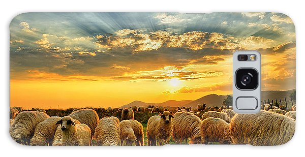 Farmland Galaxy Case - Flock Of Sheep Grazing In A Hill At by Mihai tamasila
