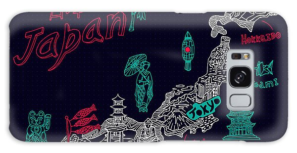 Buddhism Galaxy Case - Illustrated Map Of Japan by Daria i