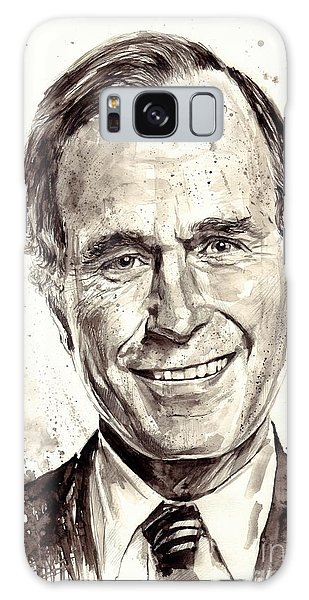 Bush Galaxy Case - President George H. W. Bush Portrait by Suzann's Art
