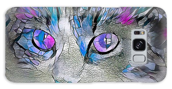 Purple Stained Glass Kitty Galaxy Case