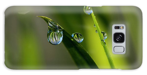 Rain Drops On Grass Galaxy Case