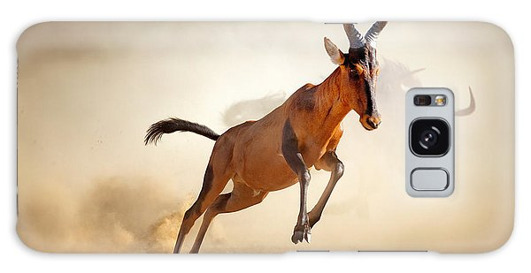 Powerful Galaxy Case - Red Hartebeest Running In Dust - by Johan Swanepoel