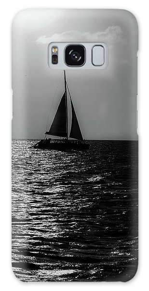 Sailing Into The Sunset Black And White Galaxy Case