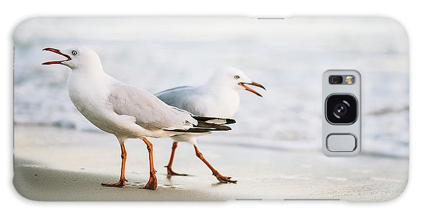 Galaxy Case featuring the photograph Seagulls On The Beach. by Rob D