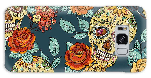 Death Galaxy Case - Skull And Flowers Seamless Background by Depiano
