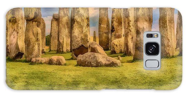 Galaxy Case featuring the painting Stonehenge by Harry Warrick