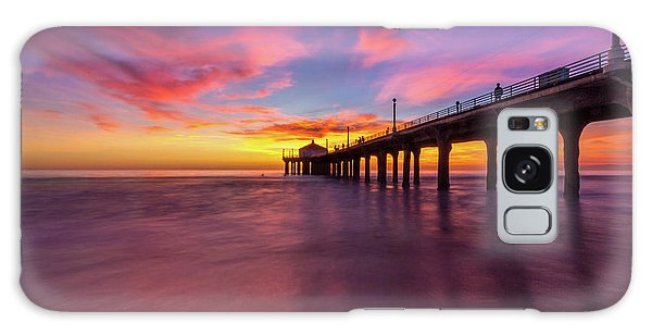 Stunning Sunset At Manhattan Beach Pier Galaxy Case