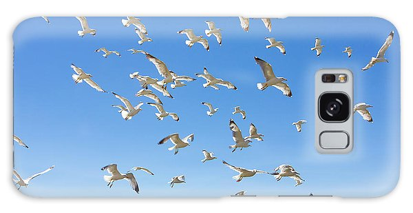 School Galaxy Case - Swarm Of Sea Gulls Flying Close To The by Smoxx