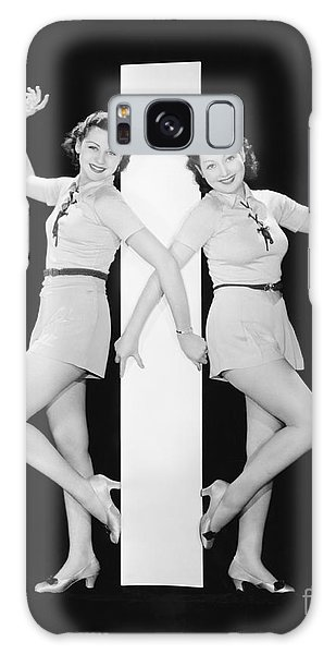 Two People Galaxy Case - Women Posing With Big Letter I by Everett Collection