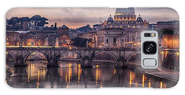 Dusk Galaxy Case - Illuminated Bridge In Rome, Italy by Sophie Mcaulay