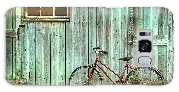 Shed Galaxy Case - Old Bicycle Leaning Against Grungy Barn by Sandra Cunningham