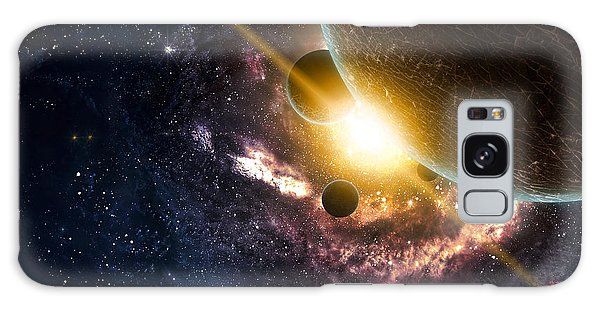 Milky Way Galaxy Case - Planets Over The Nebulae In Space by Vadim Sadovski