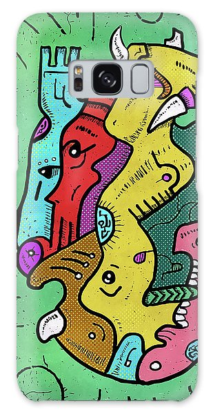 Galaxy Case featuring the digital art Psychedelic Animals by Sotuland Art
