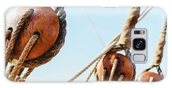 Rigging And Ropes On An Old Sailing Ship To Sail In Summer. Galaxy Case