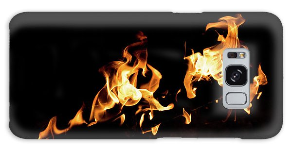 Flames In The Fire Of A Red And Yellow Barbecue. Galaxy Case