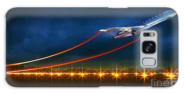 Airport Galaxy Case - 3d Illustration Of An Aircraft At Take by Egorov Artem