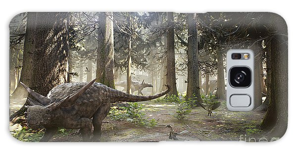 Environments Galaxy Case - 3d Rendering Of A Herd Of Sauropelta by Herschel Hoffmeyer