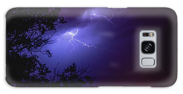 Rays In A Night Storm With Light And Clouds. Galaxy Case