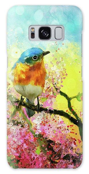 Eastern Bluebird Galaxy Case - A Bluebird On The Redbud by Lois Bryan