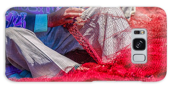 Marina Galaxy Case - A Closeup To Fishermans Hands Sewing by Pixinoo