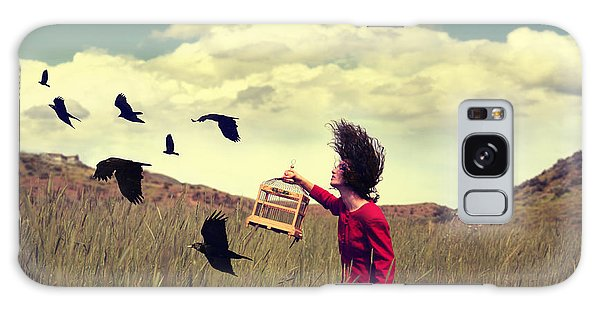 Seagulls Galaxy Case - A Girl Walking Through A Field With A by Annette Shaff