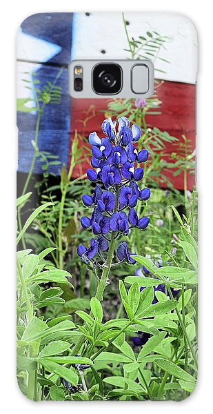 A Single Blue Bonnet With The Texas Flag Galaxy Case