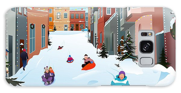 Young Galaxy Case - A Vector Illustration Of Kids Sledding by Artisticco
