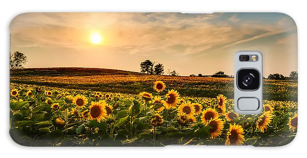 Bright Colors Galaxy Case - A View Of A Sunflower Field In Kansas by Tommybrison