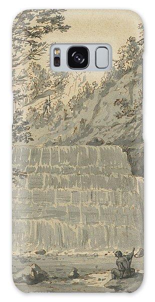 Waterfall Galaxy Case - A Waterfall In Switzerland With A Resting Wayfarer by Jan Hackaert