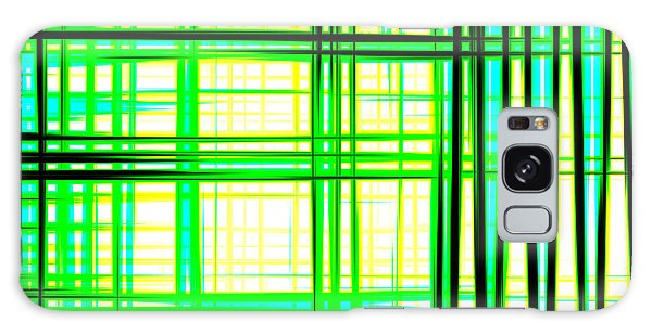 Abstract Design With Lines Squares In Green Color Waves - Pl409 Galaxy Case