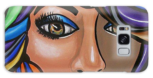 Abstract Woman Artwork Abstract Female Painting Colorful Hair Salon Art - Ai P. Nilson Galaxy Case