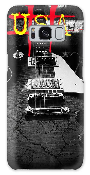 Galaxy Case featuring the digital art Abstract Relic Guitar Usa Flag by Guitar Wacky