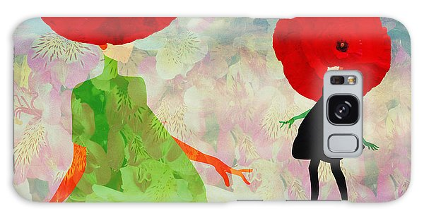 Two People Galaxy Case - Abstract Sketch Of A Woman In  Green by Viktoriya Pa