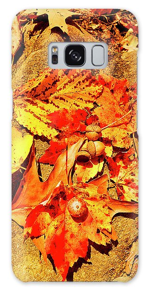 Acorns Fall Maple Oak Leaves Galaxy Case