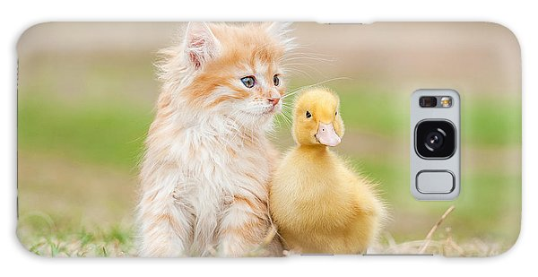 Tabby Galaxy Case - Adorable Red Kitten With Little Duckling by Grigorita Ko