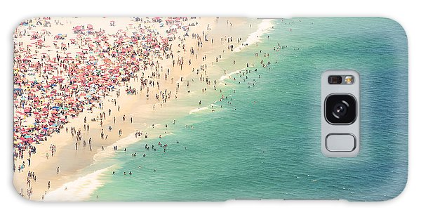 Horizontal Galaxy Case - Aerial Summer View Of Crowded Ipanema by Lazyllama