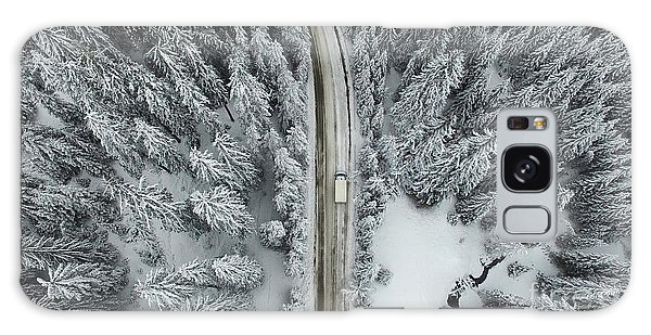 Pine Branch Galaxy Case - Aerial View Of A Snowy Forest With High by Omphoto