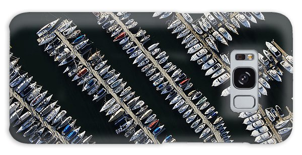 Horizontal Galaxy Case - Aerial View Of Boats Lined Up On The by Iofoto