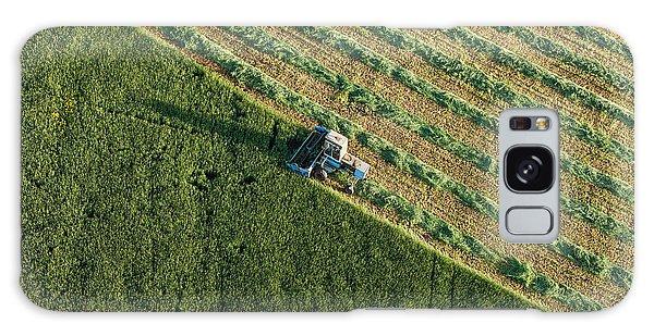 Plane Galaxy Case - Aerial View Of Harvest Fields With by Mariusz Szczygiel